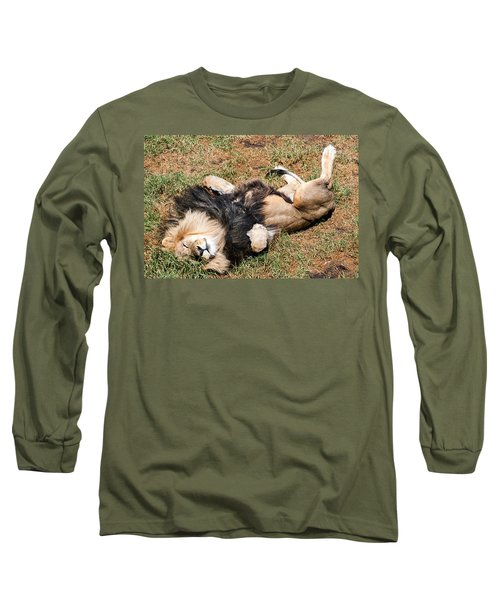 Just Lion Down Long Sleeve T-Shirt by Ray Warren
