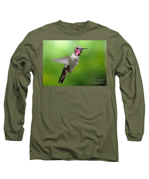Long Sleeve T-Shirt featuring the photograph Juvenile Male Anna's In Flight by Jay Milo