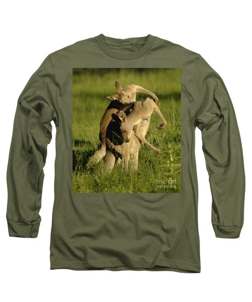 Kangaroos Taking A Bow Long Sleeve T-Shirt by Bob Christopher
