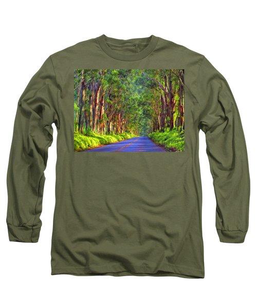 Kauai Tree Tunnel Long Sleeve T-Shirt by Dominic Piperata