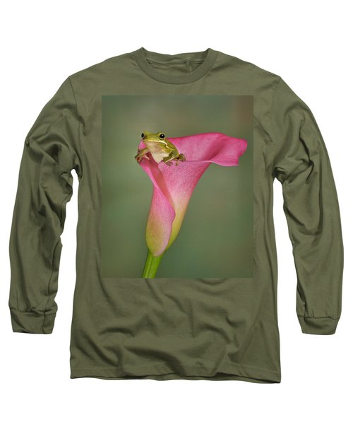 Long Sleeve T-Shirt featuring the photograph Kermit Peeking Out by Susan Candelario