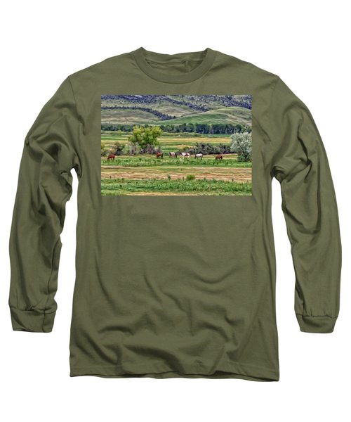 Long Sleeve T-Shirt featuring the painting K G Ranch by Michael Pickett