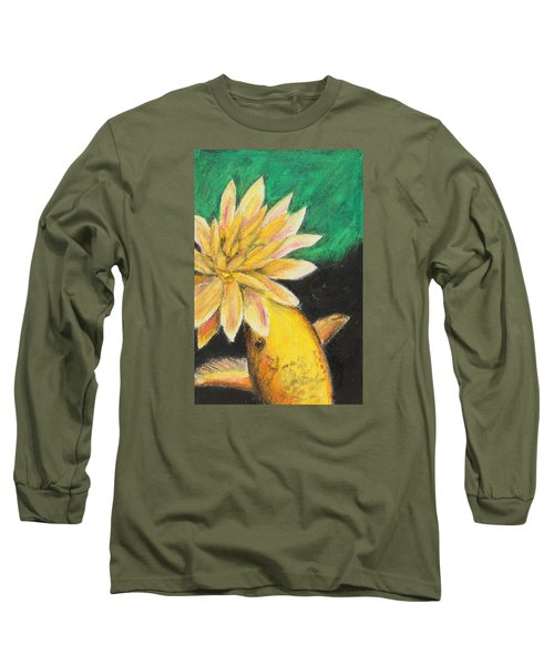 Long Sleeve T-Shirt featuring the painting Koi And The Lotus Flower by Jeanne Fischer