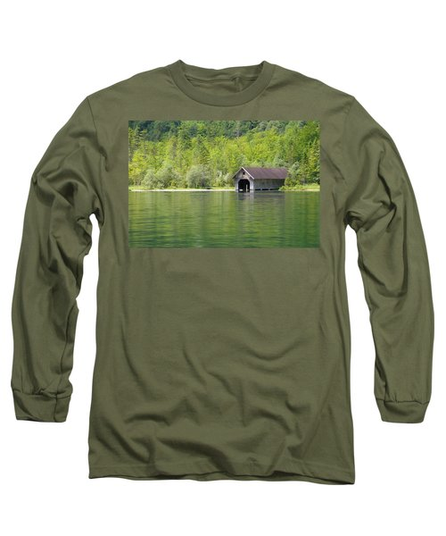 Long Sleeve T-Shirt featuring the photograph Konigsee Boathouse by Jeremy Voisey