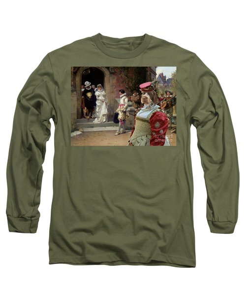 Korthals Pointing Griffon Art Canvas Print Long Sleeve T-Shirt by Sandra Sij