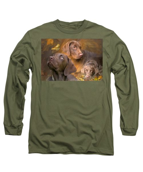 Long Sleeve T-Shirt featuring the mixed media Lab In Autumn by Carol Cavalaris