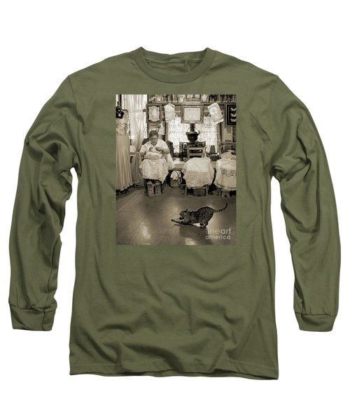Long Sleeve T-Shirt featuring the photograph Lace Lady Of Burano-bw by Jennie Breeze