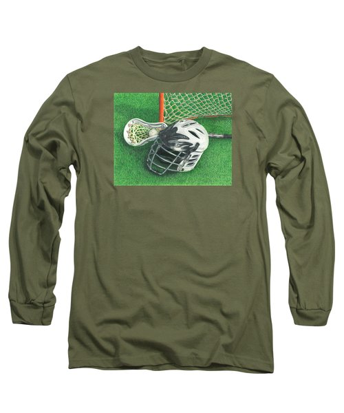 Long Sleeve T-Shirt featuring the drawing Lacrosse by Troy Levesque
