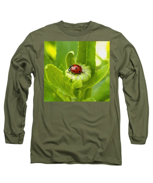 Lady Bug In The Garden Long Sleeve T-Shirt by Amy McDaniel