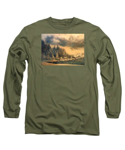 Long Sleeve T-Shirt featuring the painting Lake Tahoe Winter Colors 2 by Donna Tucker