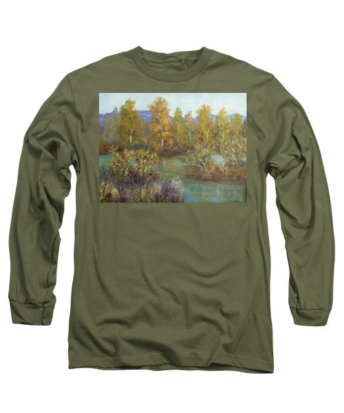 Landscape River And Trees Paintings Long Sleeve T-Shirt
