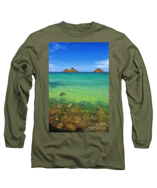 Long Sleeve T-Shirt featuring the photograph Lanikai Beach Sea Turtle by Aloha Art