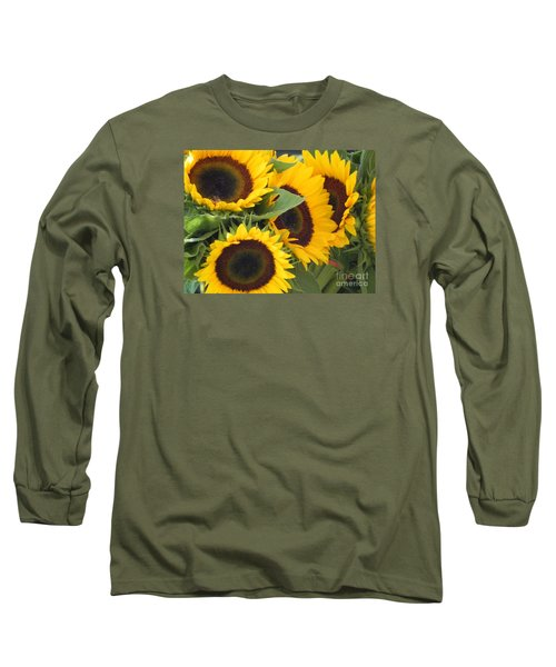 Long Sleeve T-Shirt featuring the photograph Large Sunflowers by Chrisann Ellis