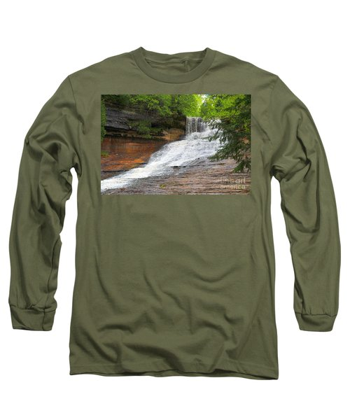 Long Sleeve T-Shirt featuring the photograph Laughing Whitefish Waterfall by Terri Gostola