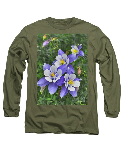 Long Sleeve T-Shirt featuring the digital art Lavender And White Star Flowers by Mae Wertz