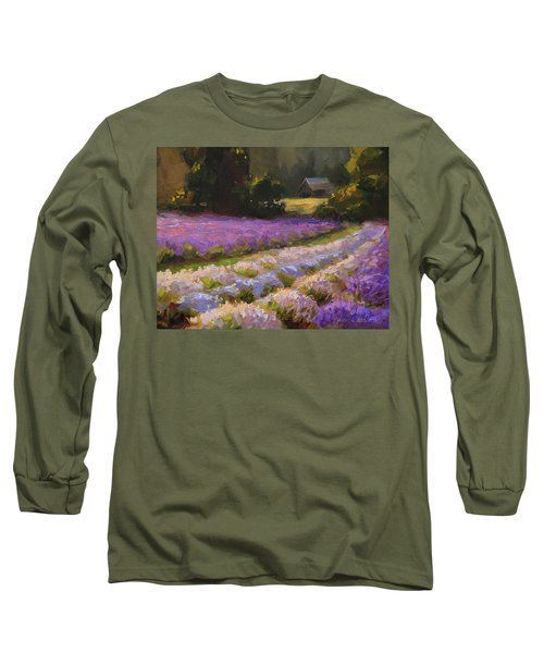 Lavender Farm Landscape Painting - Barn And Field At Sunset Impressionism  Long Sleeve T-Shirt