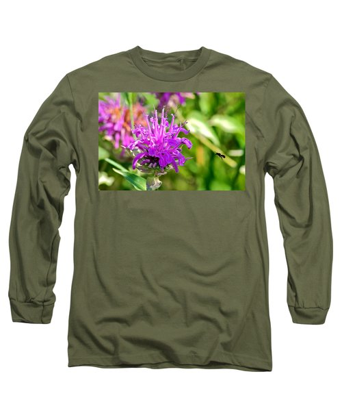 Long Sleeve T-Shirt featuring the photograph Lavender Pink Bee Balm Wild Bergamot by Karon Melillo DeVega