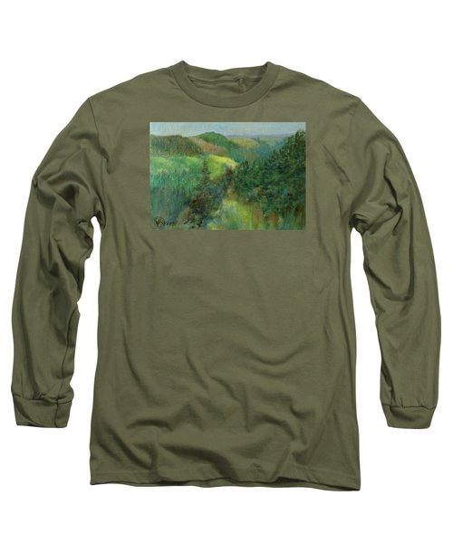 Layers Of Mountain Ranges Colorful Original Landscape Oil Painting Long Sleeve T-Shirt by Elizabeth Sawyer