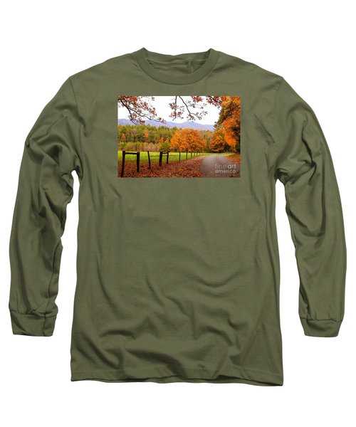 Long Sleeve T-Shirt featuring the photograph Leaves A'fallin by Geraldine DeBoer
