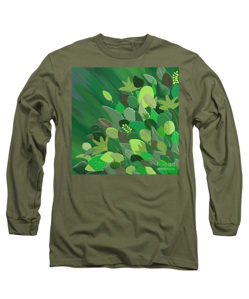 Leaves Are Awesome Long Sleeve T-Shirt by Linda Lees
