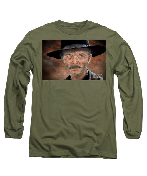Lee Van Cleef As Angel Eyes In The Good The Bad And The Ugly Version II Long Sleeve T-Shirt by Jim Fitzpatrick