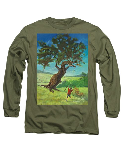 Long Sleeve T-Shirt featuring the painting Legendary Archer by Rob Corsetti