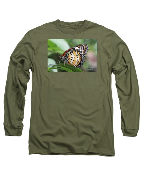 Leopard Lacewing Butterfly Long Sleeve T-Shirt by Judy Whitton