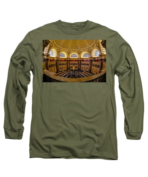 Long Sleeve T-Shirt featuring the photograph Library Of Congress Main Reading Room by Susan Candelario