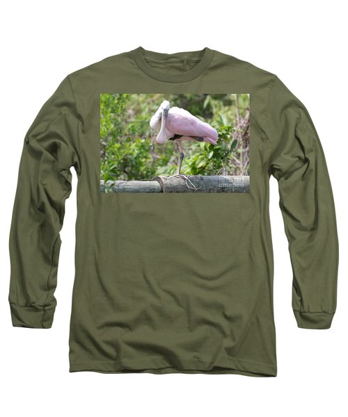 Light Pink Roseate Spoonbill Long Sleeve T-Shirt by Carol Groenen