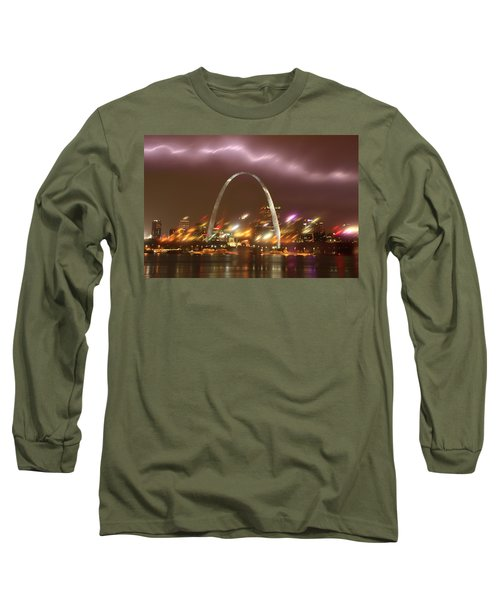 Lightning Over The Arch Long Sleeve T-Shirt by Garry McMichael