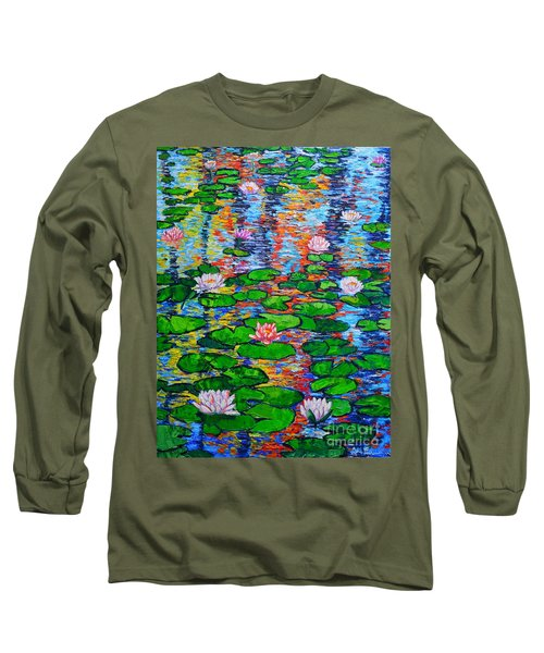 Lily Pond Colorful Reflections Long Sleeve T-Shirt