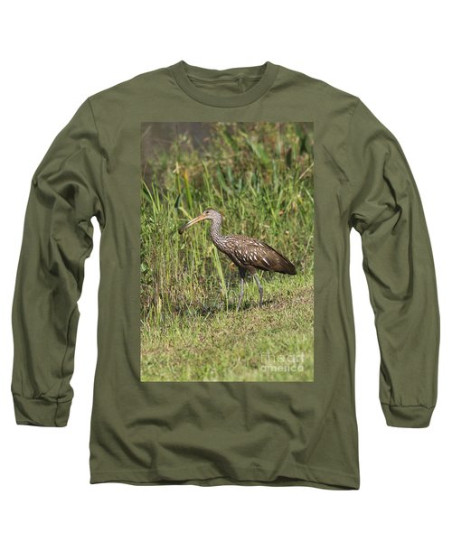 Long Sleeve T-Shirt featuring the photograph Limpkin With Apple Snail by Christiane Schulze Art And Photography