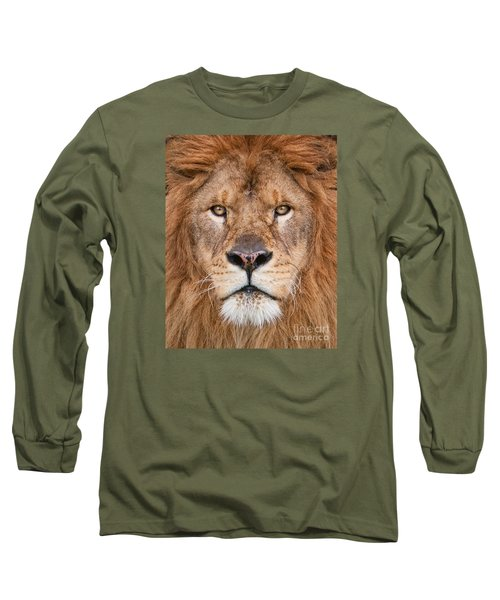Lion Close Up Long Sleeve T-Shirt by Jerry Fornarotto