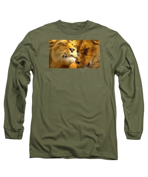 Lions In Love Long Sleeve T-Shirt by Catherine Lott