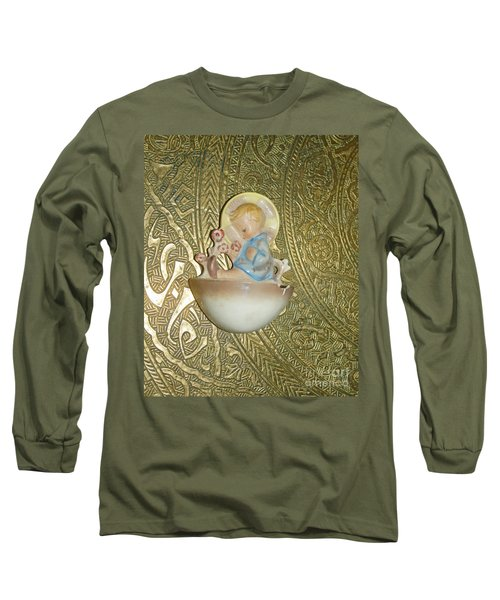 Newborn Boy In The Baptismal Font Sculpture Long Sleeve T-Shirt
