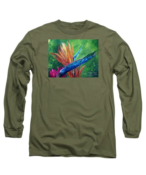 Long Sleeve T-Shirt featuring the painting Lizard On Bird Of Paradise by Eloise Schneider