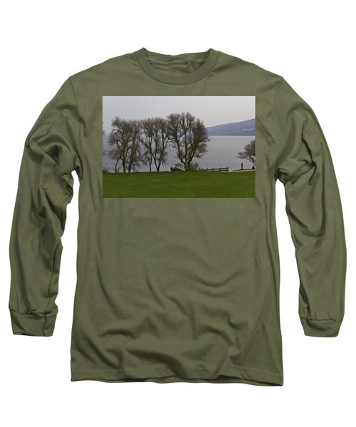 Loch Ness And Boat Jetty Next To Urquhart Castle Long Sleeve T-Shirt