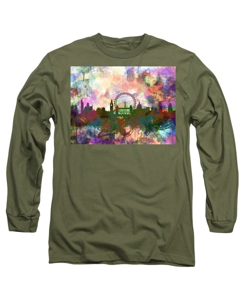 London Skyline Watercolor Long Sleeve T-Shirt