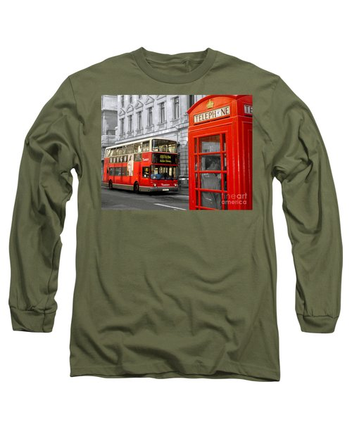 Long Sleeve T-Shirt featuring the photograph London With A Touch Of Colour by Nina Ficur Feenan