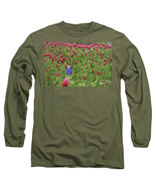 Long Sleeve T-Shirt featuring the photograph Lonely Bluebonnet by Jerry Bunger