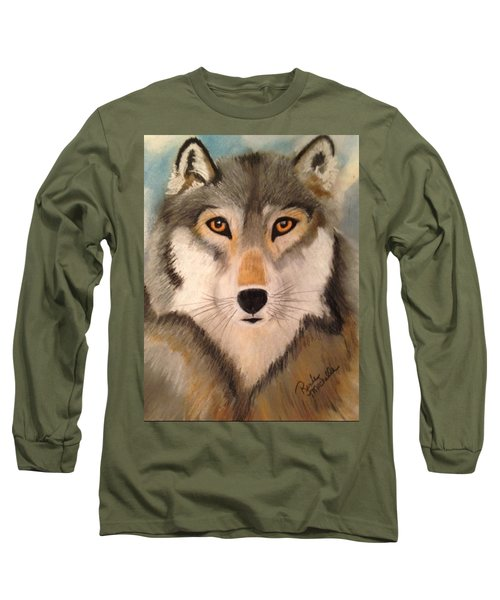 Looking At A Timber Wolf Long Sleeve T-Shirt
