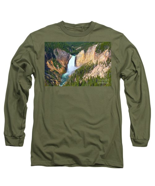 Long Sleeve T-Shirt featuring the photograph Lower Falls Yellowstone 2 by Teresa Zieba