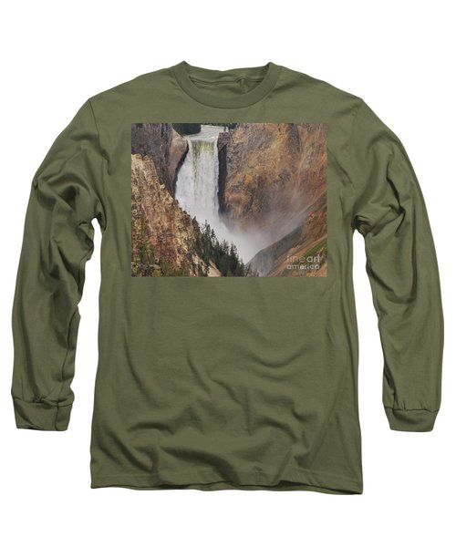 Lower Falls - Yellowstone Long Sleeve T-Shirt by Mary Carol Story