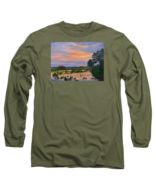 Long Sleeve T-Shirt featuring the painting Loxahatchee Sunset by Karen Zuk Rosenblatt