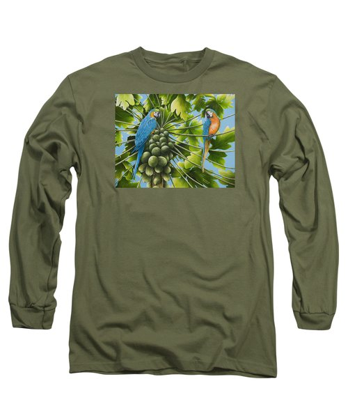 Macaw Parrots In Papaya Tree Long Sleeve T-Shirt