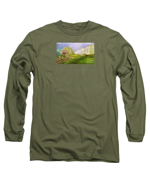 Machu Picchu Rainbow Long Sleeve T-Shirt by Michele Penner