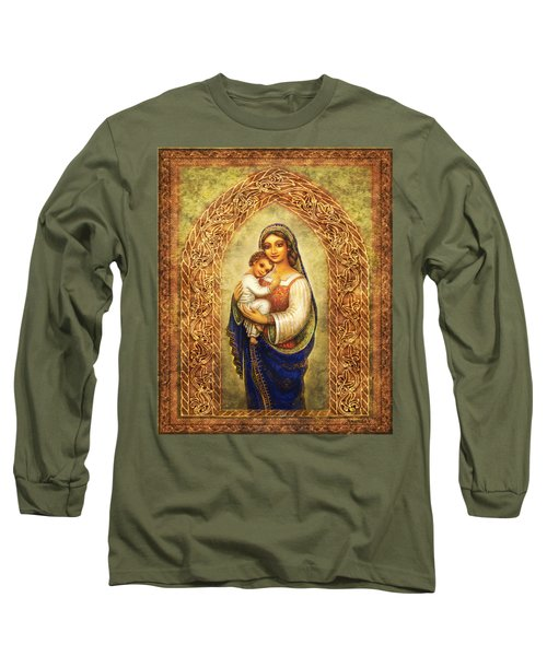Long Sleeve T-Shirt featuring the mixed media Madonna In An Arch by Ananda Vdovic