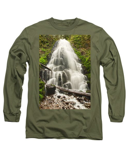 Magical Falls - Fairy Falls In The Columbia River Gorge Area Of Oregon Long Sleeve T-Shirt