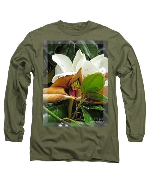 Long Sleeve T-Shirt featuring the photograph Magnolia Flowers - Flower Of Perseverance by Ella Kaye Dickey