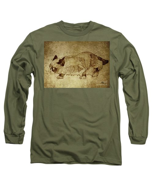 Male Cat Hunts At Night Long Sleeve T-Shirt by Daniel Yakubovich